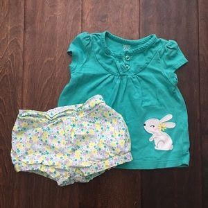 6 month Carters Just one you Bunny short and top